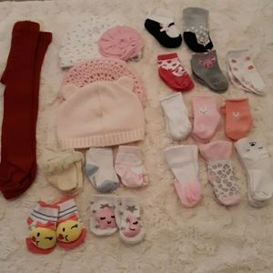 Baby girl bundle hats socks tights 0-6m